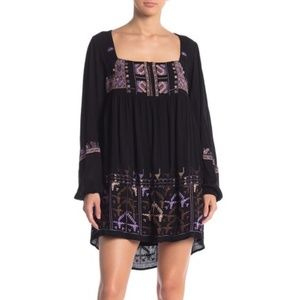 Free People Black Embroidered Babydoll Dress XS